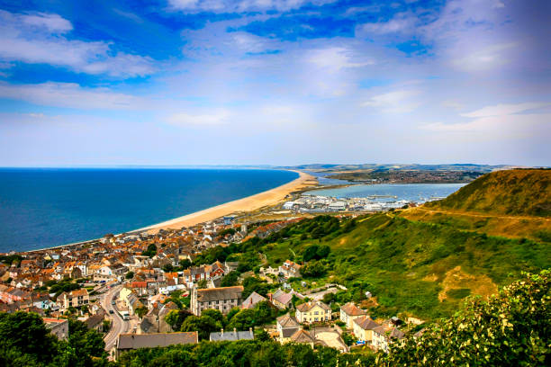 Chesil Beach and Fortuneswell on Portland Island in Dorset UK stock photo