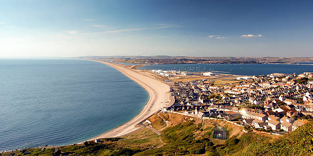 chesil beach and fortuneswell - weymouth stock photos and pictures