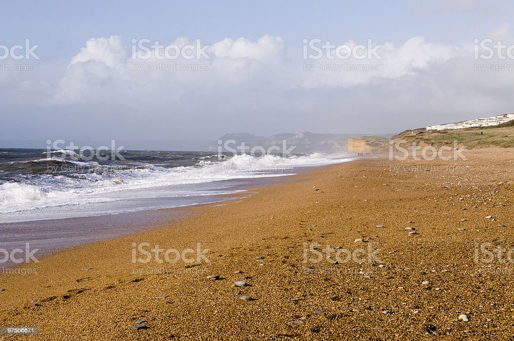 Chesil Beach in winter royalty-free stock photo