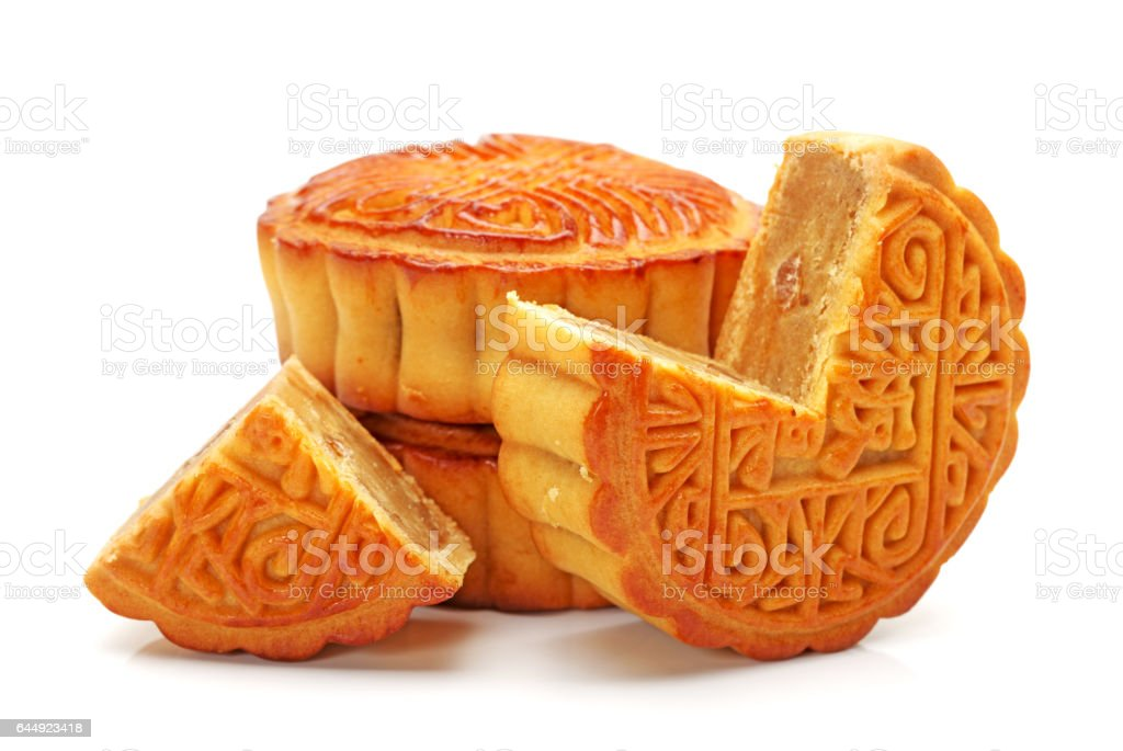 Chesnuts Chinese moon cake round  on white background stock photo
