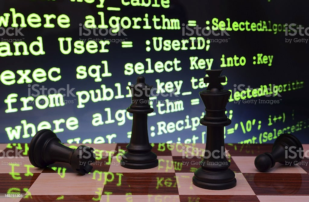 Chess and programming concept royalty-free stock photo