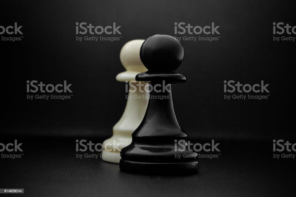Chess. Black and White pawns. stock photo