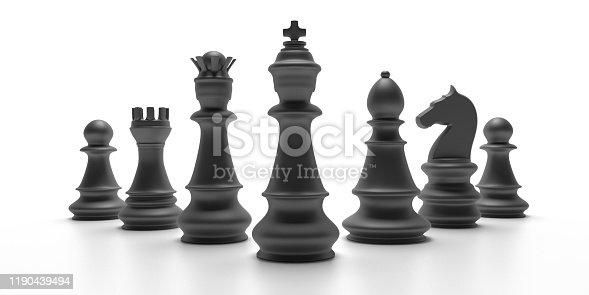 Chess pieces black color isolated against white background, Basic set pieces. 3d illustration