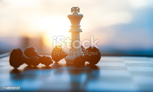Chess board and pieces in a chess game.