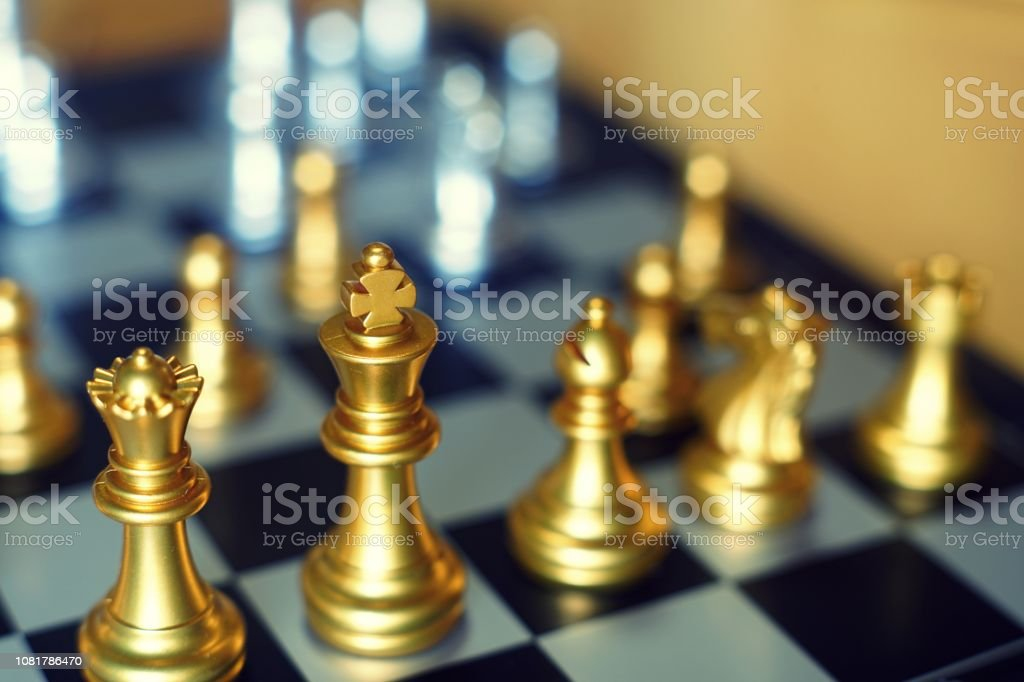 Chess board game, business competitive concept, difficult position to...