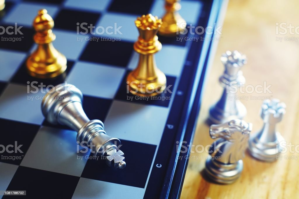 Chess board game, business competitive concept, difficult position to compete stock photo