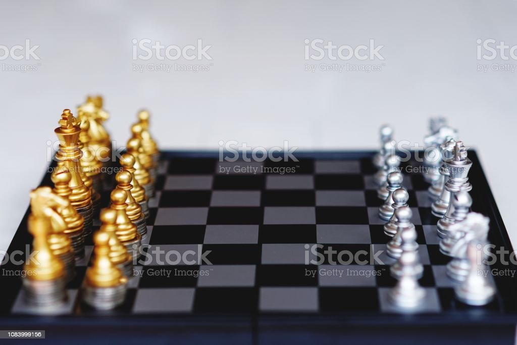 Chess board game, business competitive concept, strong financial...