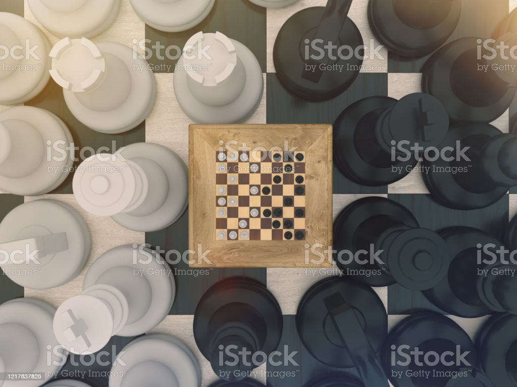 Chess board game concept for ideas and competition and strategy or Simulation Hypothesis, Theory concept.. Chess board game concept for ideas and competition and strategy or Simulation Hypothesis, Theory concept. 3d rendering Activity Stock Photo