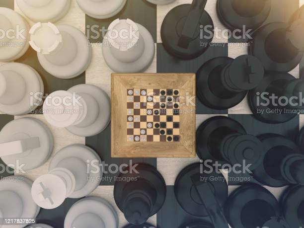 Chess Board Game Concept For Ideas And Competition And Strategy Or Simulation Hypothesis Theory Concept Stock Photo - Download Image Now