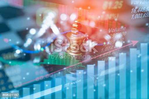 858031152istockphoto Chess board game concept of business competition and strategy with stock market graph background, Concept business idea 858031182