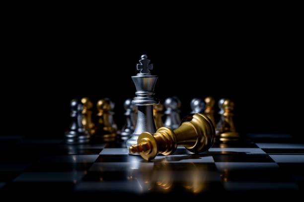 Schach Brettspiel für Geschäftsidee in Licht und Schatten. – Foto
