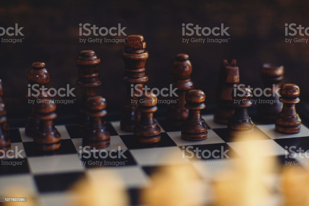 Chess board game, game starting, business competitive concept, copy...