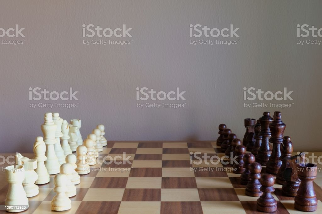 Chess board game. Two teams get ready for fight. Team concept. Copy...