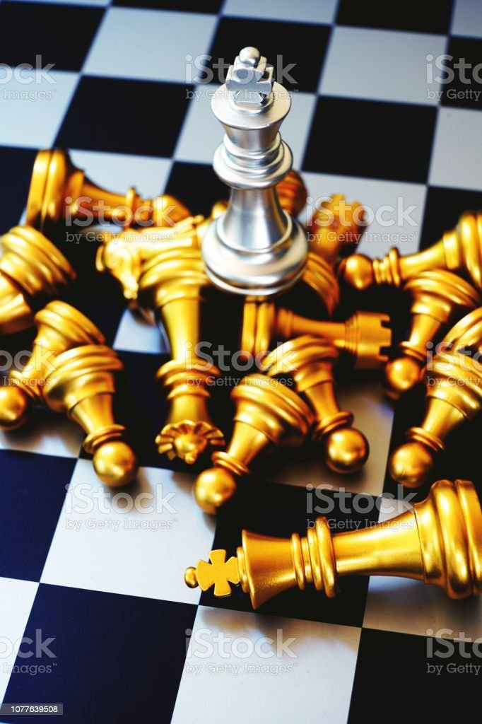 Chess board game, winner winning situation, king on to of all,...