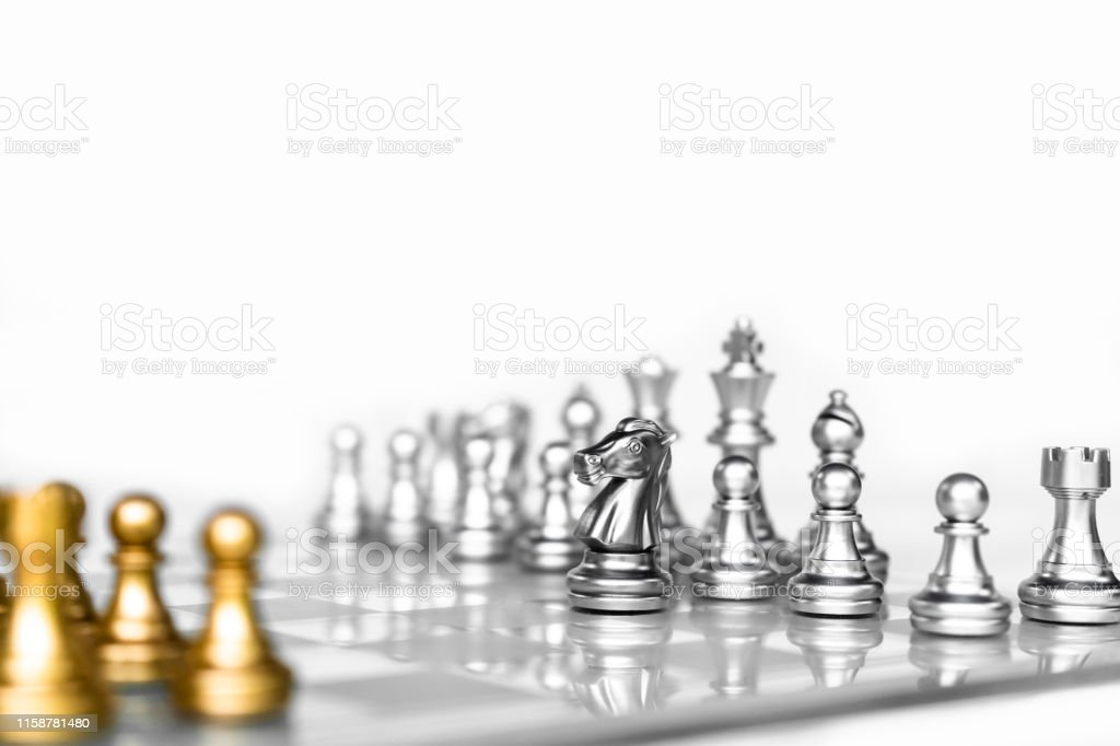 Chess board game with white background, business competitive concept,...
