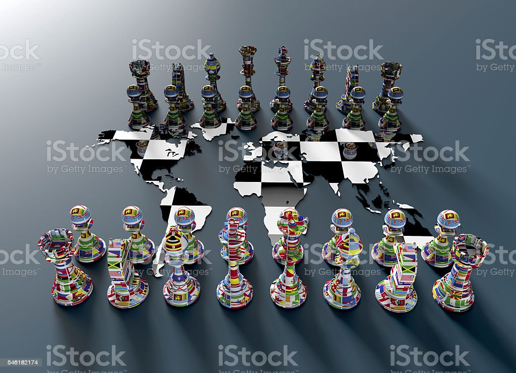 chess board out of the world map with chess play stock photo