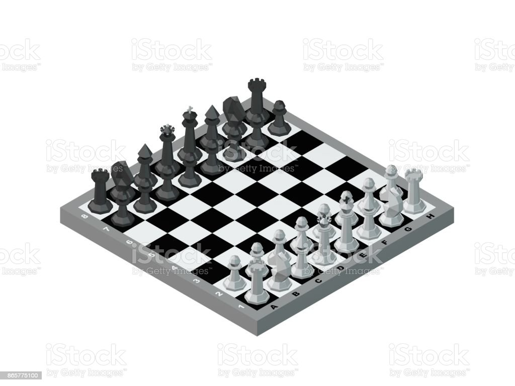 Chess board with figures. Isolated on white background. stock photo