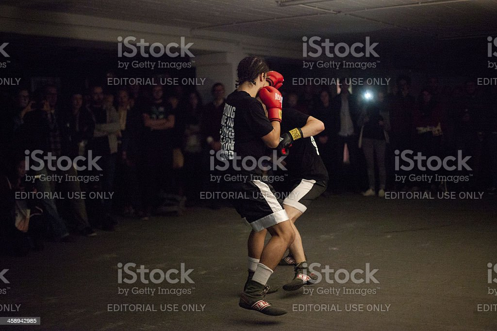 Chess boxers fight stock photo