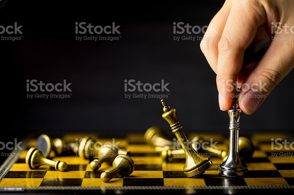 Chess business concept, leader & success stock photo