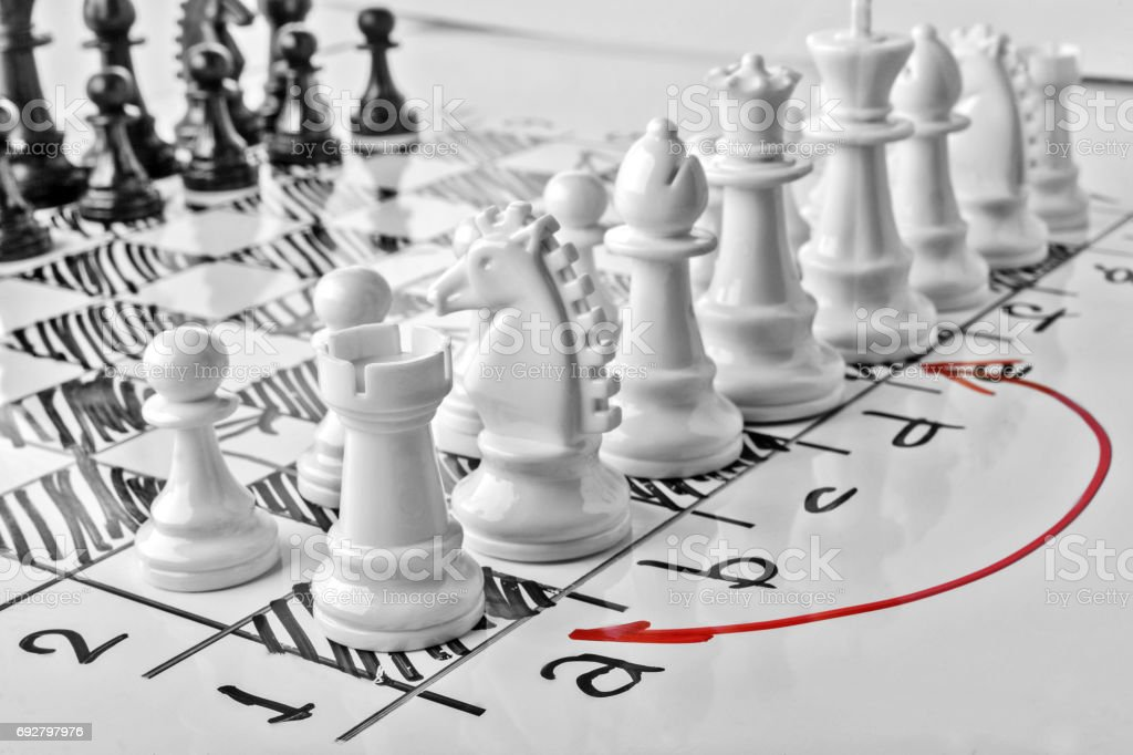 Chess, castling queenside or long castling. White board with chess figures on it. Plan of battle. stock photo