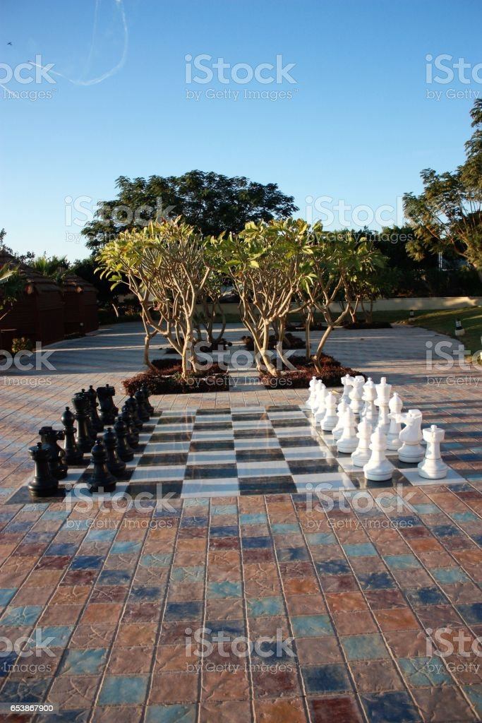 Chess figures in starting position outdoors, Jordan stock photo