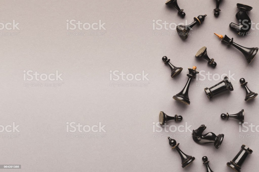 Chess figures on gray table background - Royalty-free Abstract Stock Photo