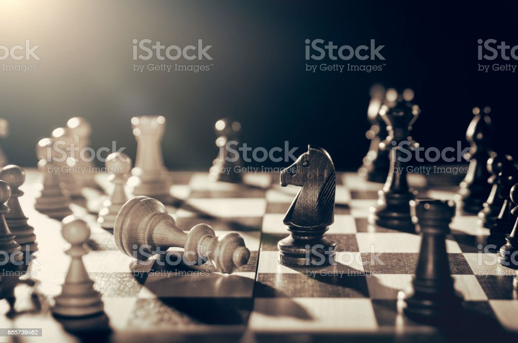 Chess financial business strategy concept. stock photo
