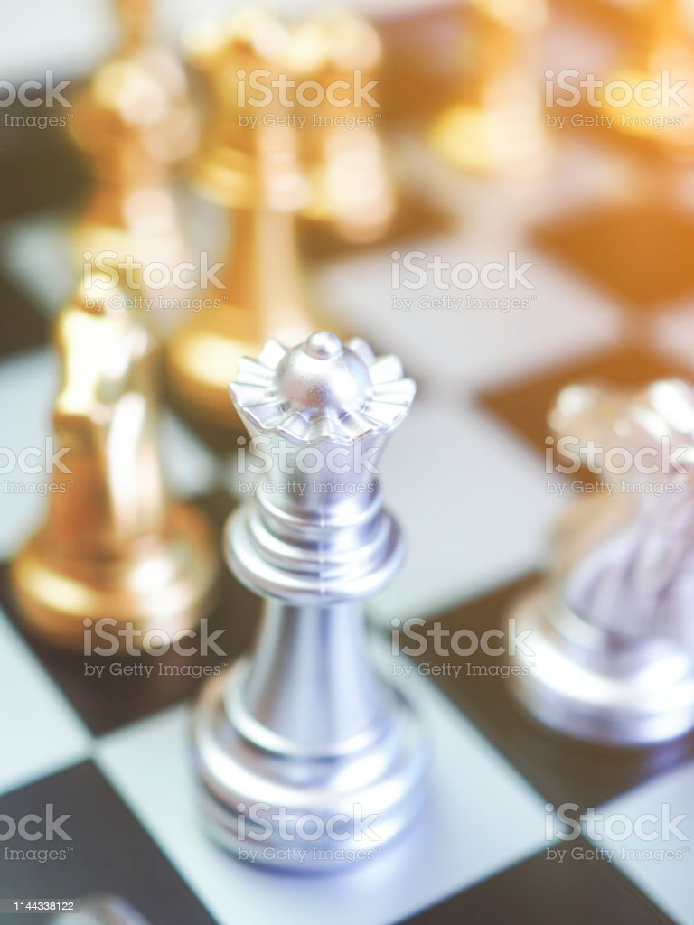 Chess game ,fighting for leader of business marketing competition...