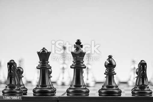 chess game in black and white image for strategic business background
