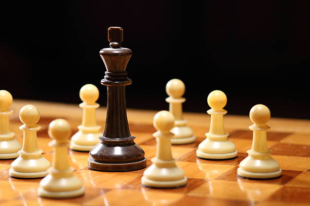 Chess Game King Surrounded Color Horizontal stock photo