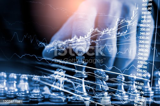 1090482098istockphoto Chess game on chess board on stock market or forex trading graph chart for financial investment concept. Economy trends for digital business marketing strategy analysis. Abstract finance background. 1203877581