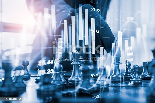 1090482098istockphoto Chess game on chess board on stock market or forex trading graph chart for financial investment concept. Economy trends for digital business marketing strategy analysis. Abstract finance background. 1204508728