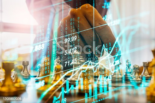 1090482098istockphoto Chess game on chess board on stock market or forex trading graph chart for financial investment concept. Economy trends for digital business marketing strategy analysis. Abstract finance background. 1205852026