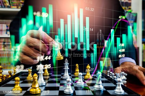 1090482098istockphoto Chess game on chess board on stock market or forex trading graph chart for financial investment concept. Economy trends for digital business marketing strategy analysis. Abstract finance background. 1205852038