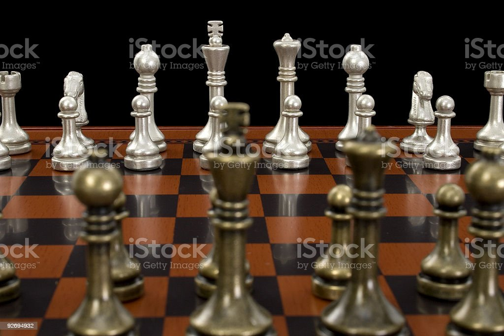 Chess Game with Focus on Light Pieces royalty-free stock photo