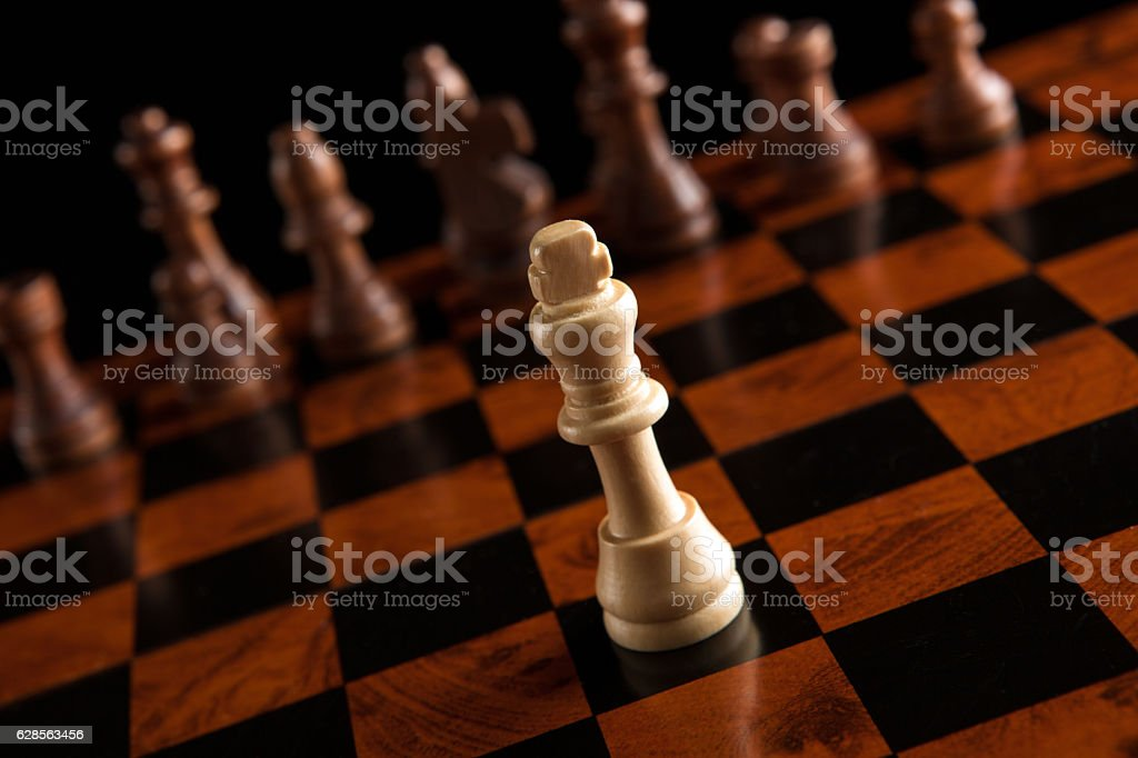 chess game with the king in the center stock photo