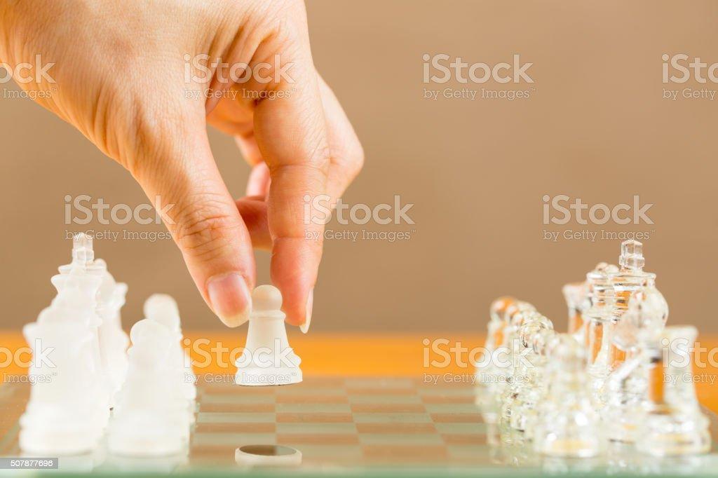 Chess glass start up game stock photo