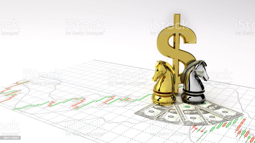 Chess Horse Symbol Gold Dollar Money And Gold Make Profit Investment