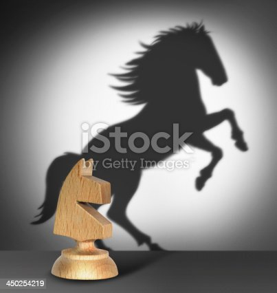 istock Chess horse with  shadow 450254219