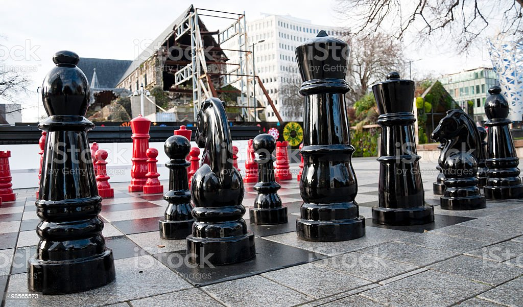Chess in Cathedral Square Christchurch stock photo