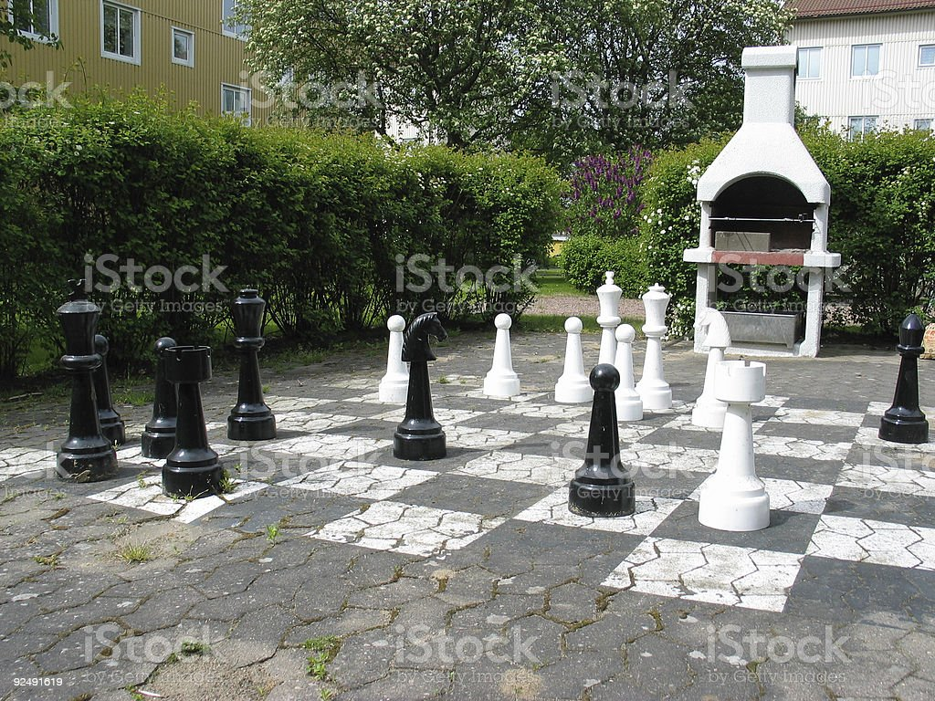 chess in the garden royalty-free stock photo