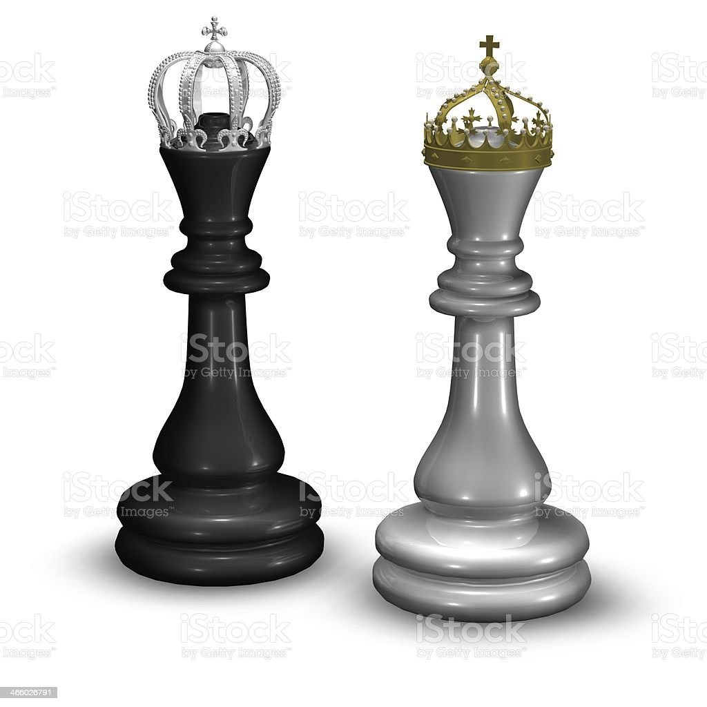 chess king and queen figures with crowns isolated on white stock photo