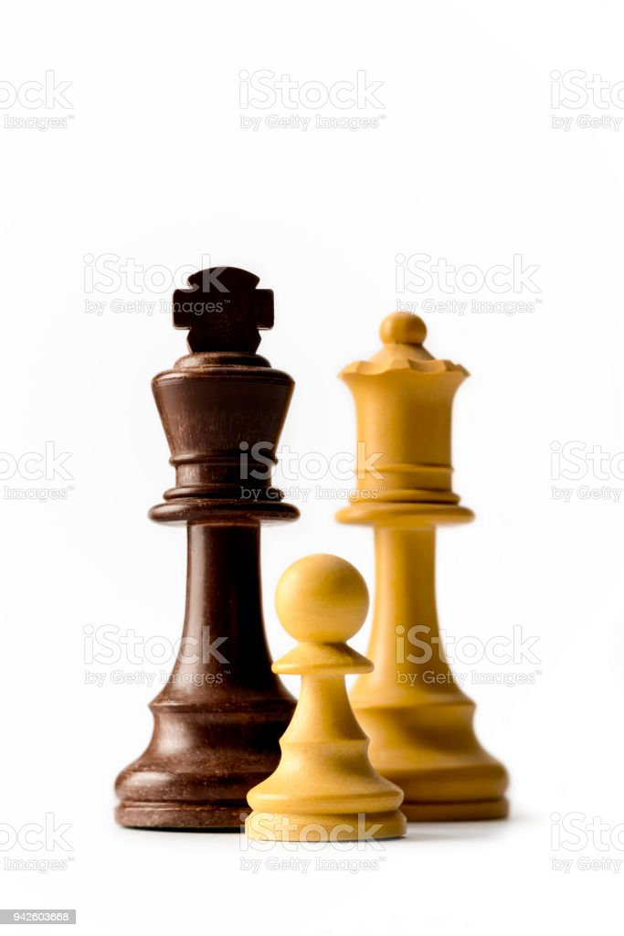 Chess King Queen And Pawn Isolated On White Background Stock Photo