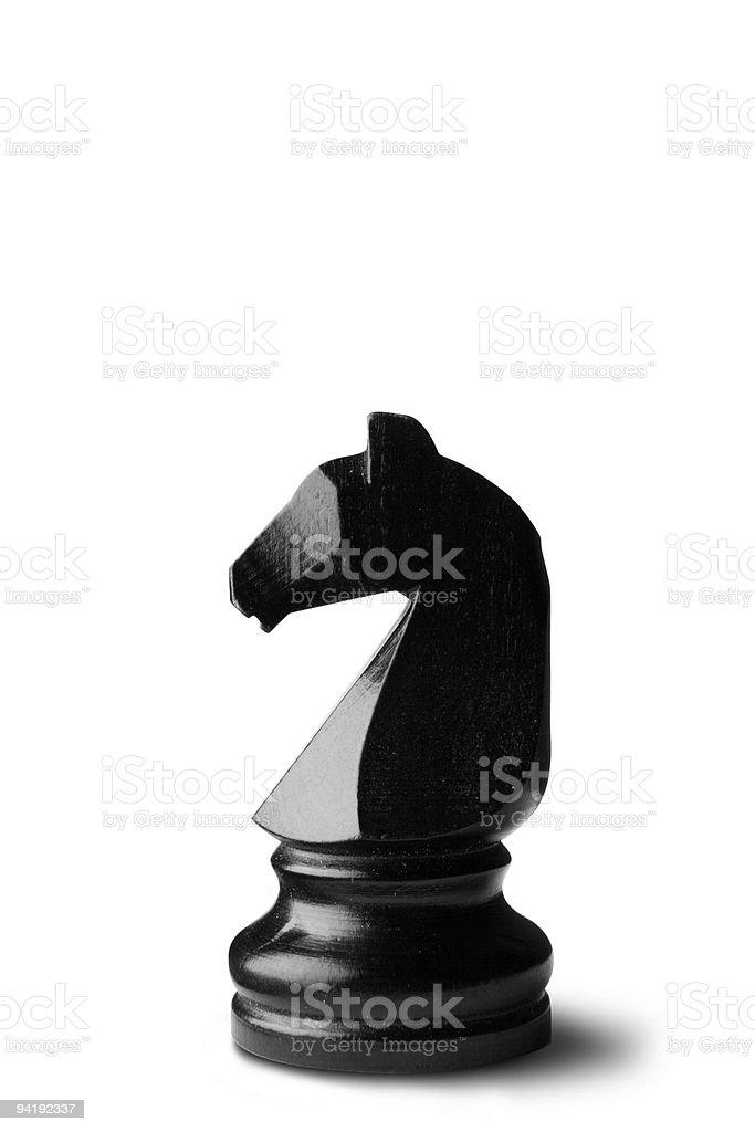 Chess: Knight (Black) Isolated on White Background stock photo