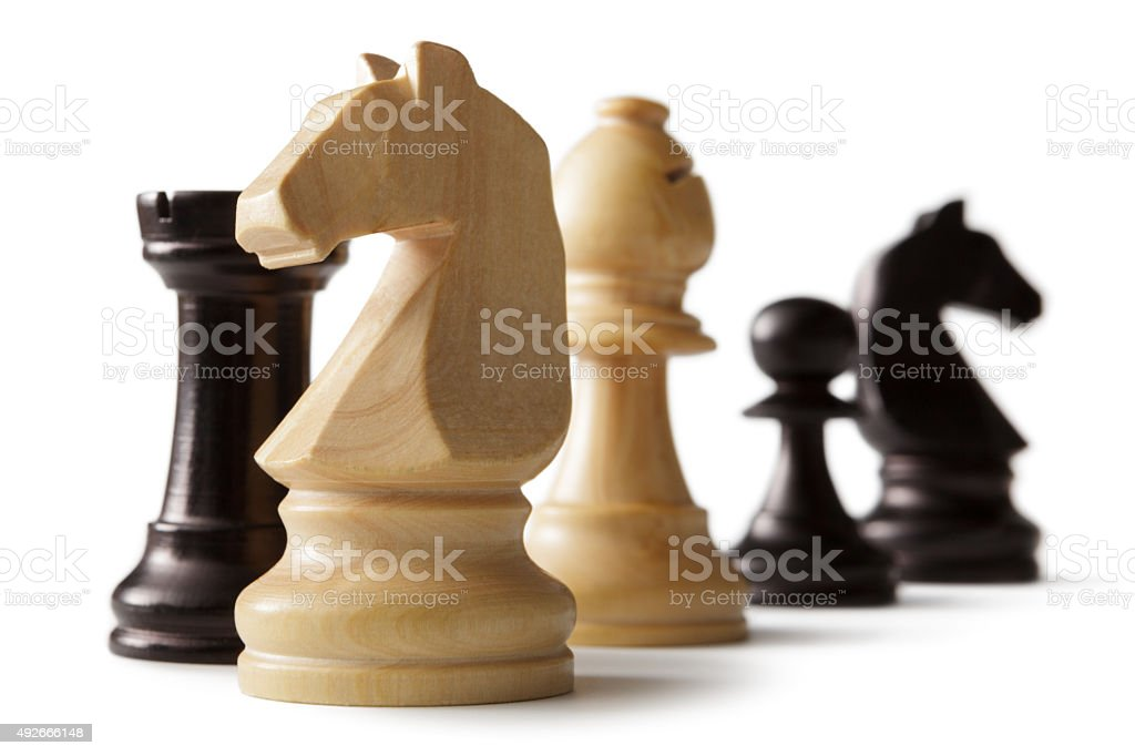Chess: Knights, Bishop, Rook and Pawn stock photo