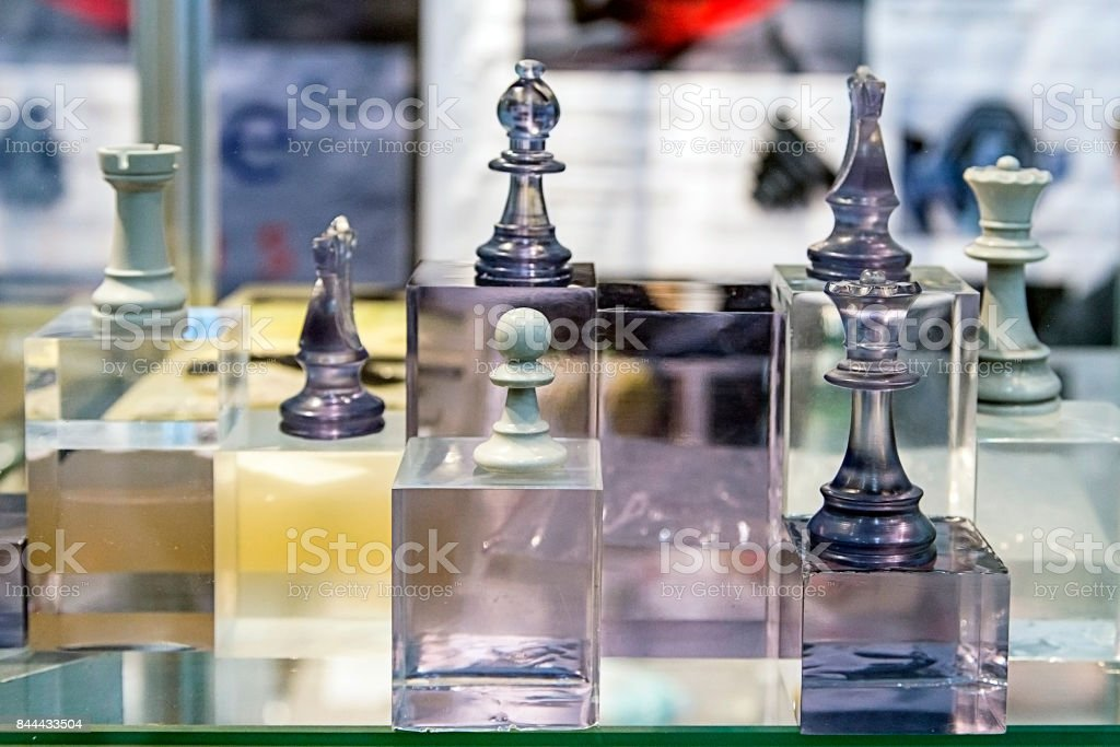 Chess made of composite materials stock photo
