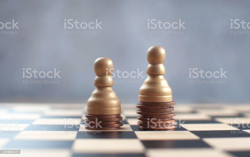 Chess money challenge stock photo