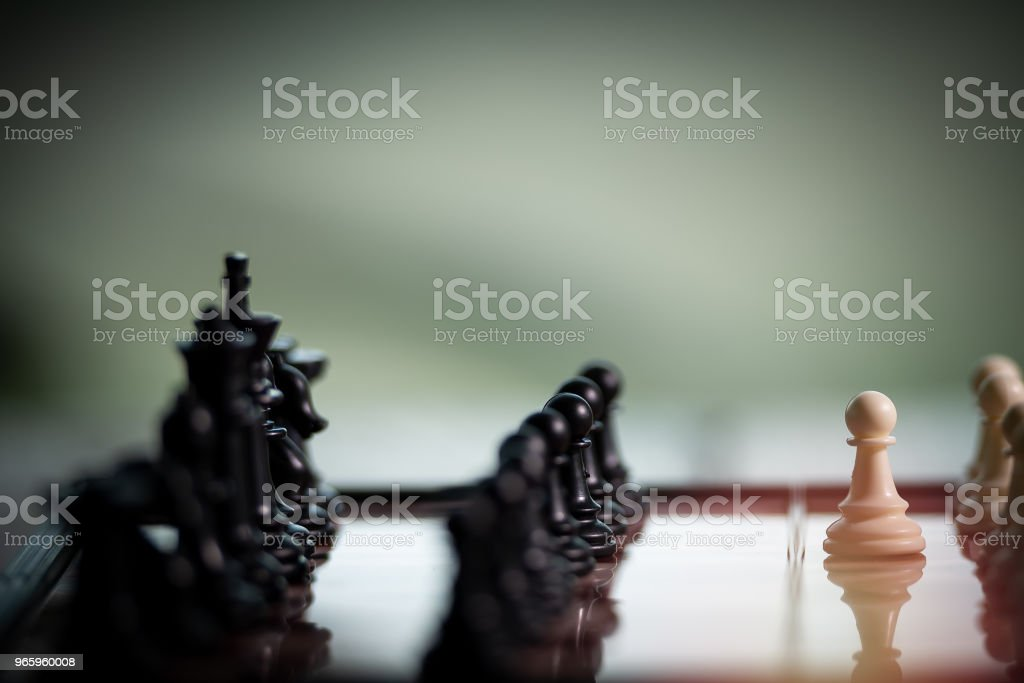 Chess on a Board of wood.  nature background.  game, strategy, management or leadership concept and teamwork. Select focus - Royalty-free Battle Stock Photo