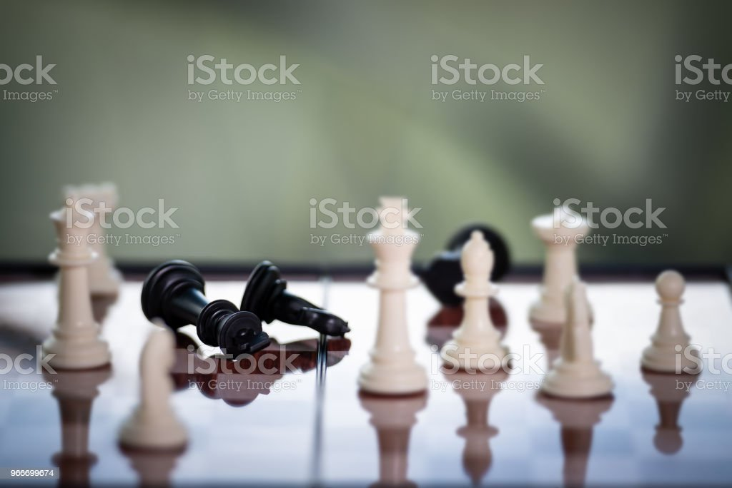Chess on a Board of wood. nature background. game, strategy,...