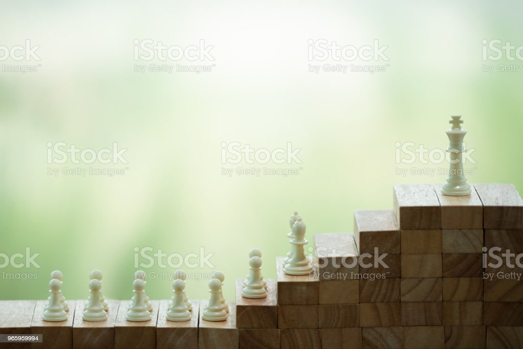 Chess on a wood block. strategy, management or leadership, business success and teamwork concept stock photo